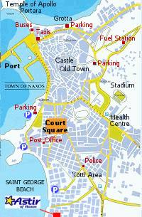 Naxos Hotel Astir - Map of Naxos Town